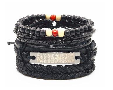 Urban Charm Vegan Leather Beaded Bracelet Stack Padre Nuestro - Black