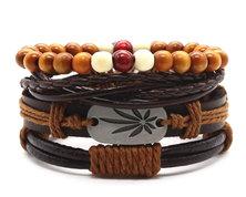 Urban Charm Vegan Leather Beaded Bracelet Stack Hemp - Brown