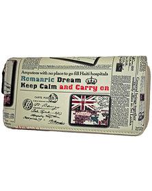 Fino Keep Calm Pu Leather Double Zipper Purse - Cream
