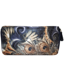 Fino Satin Double Zip Around Clutch Long Purse Card - Blue