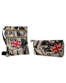 Fino Crossbody Sling Bag & Double Zipper Purse Set BEIGE