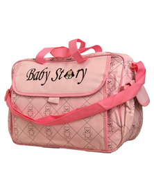 Waterproof Built in changing station nappy bag- Pink