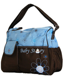 Fino Waterproof Shoulder Nappy Bag Organizer  - Blue & Brown
