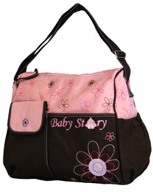 Fino Waterproof Shoulder Nappy Bag Organizer - Pink & Brown
