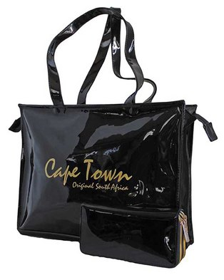 85691236dd7e Fino Cape Town Printed Patent PU Leather Handbag & Purse Set - (Black)