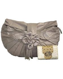 Fino Maxi Pu Leather Shoulder Handbag & 2 Tone Ostrich Leather Purse Set - Beige