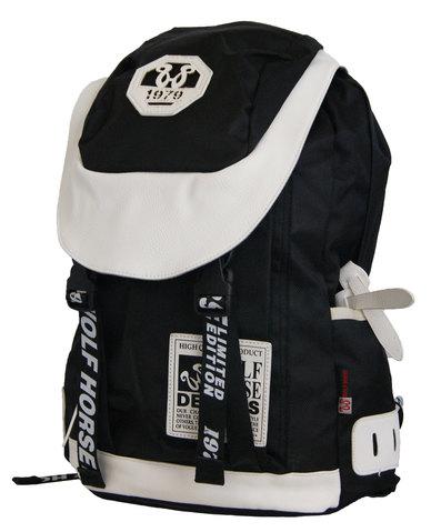 22L Fino  Wolf Horse Laptop Backpack - Black & White