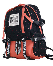 22L Wolf Horse Unisex Laptop Backpack  - Black&Peach