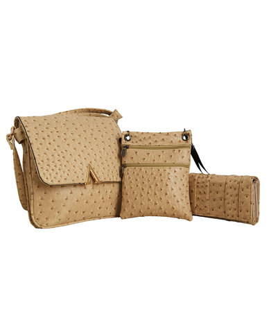 Fino Ladies 3 In 1 Ostrich Cross Body and  Pu Leather Purse Set
