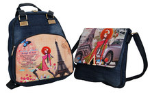 Fino Ladies Vintage Denim Backpack and Cross Body Set -blue