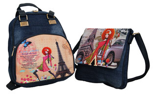 e0c89138862e Fino Ladies Vintage Denim Backpack and Cross Body Set -blue