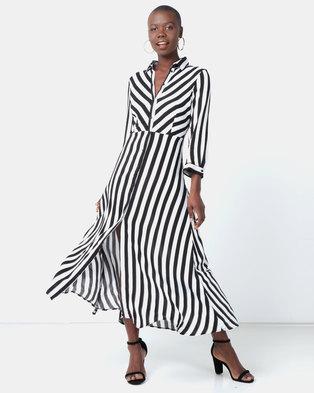24aceabb80 Legit Long Sleeve Stripe Shirt Dress Black/White