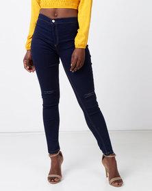 Legit Tube Slash Knee Skinny Jeans Ink