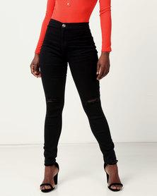 Legit Tube Slash Knee Skinny Jeans Black