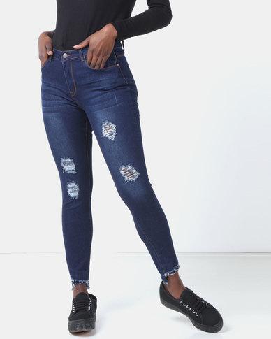 Legit Slant Fray Hem Skinny Jeans Dark Blue