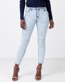 Legit Fray Hem Skinny Jeans Marble Light Wash