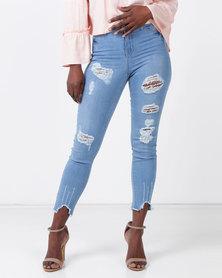 Legit Highwaist Braised Skinny Jeans Stonewash