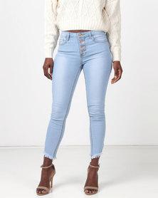 Legit Exposed Button Fly Fray Hem Skinny Jeans Light Wash