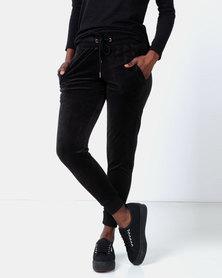Legit Velour Joggers Black