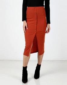 Legit Rib Button Front Tube Midi Skirt Rust