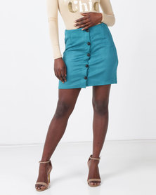 Legit Suede A-line Button Mini Skirt Teal