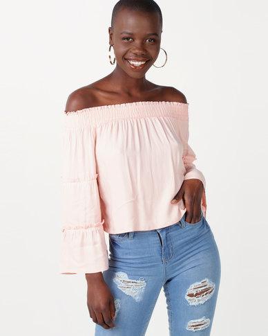 Legit Bardot Top With Tier Sleeve Light Pink
