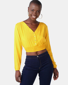 Legit Button Front Shirred Hem Blouse Mustard