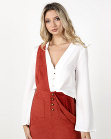 Legit Button Front Blouse with Drawcord Hem Cream