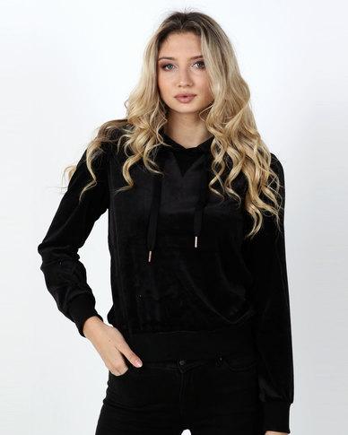 Legit Velour Hooded Pullover Black