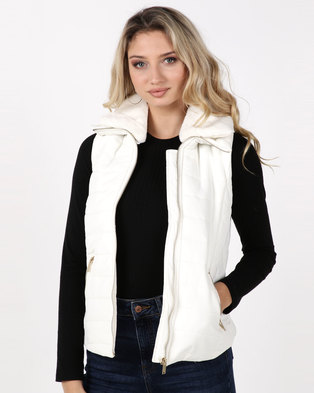 Legit Padded Gilet with Fur Collar Cream