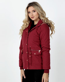 Legit Padded Parka Jacket with Fur Trim Burgundy