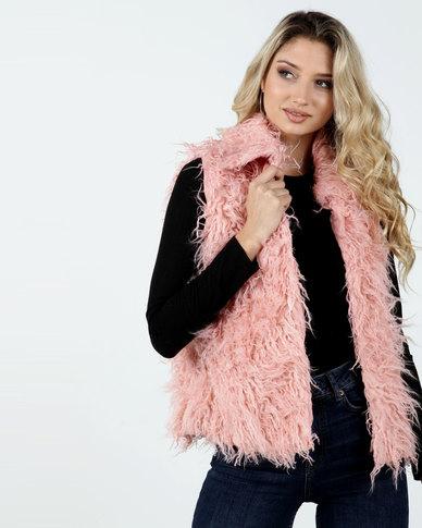 Legit Sleeveless Collared Shaggy Fur Gilet Blush