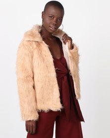 Legit Long Sleeve Fur Jacket Natural