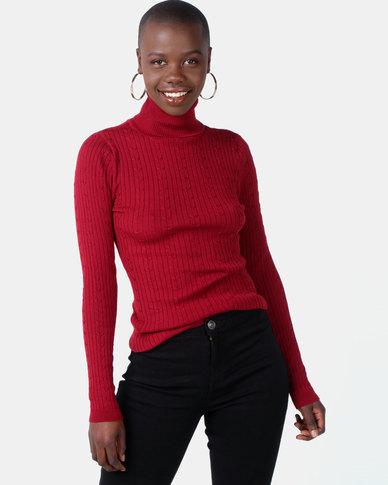 Legit Long Sleeve Poloneck Pullover Burgundy