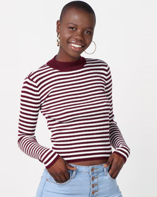Legit Long Sleeve Stripe Poloneck Pullover White/Burgundy