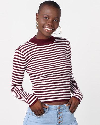 Legit Long Sleeve Stripe Poloneck Pullover White/Burgundy