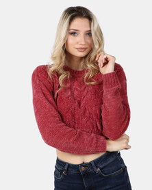 Legit Boxy Chenille Pullover With Cable Design Dark Blush
