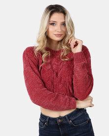 Legit Boxy Chenille Pullover With Cable Design Dark Blush