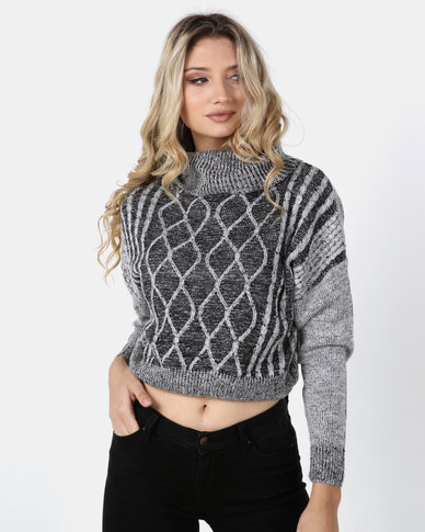 Legit Boxy Roll Neck Pullover With Cable Design Charcoal