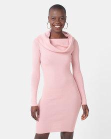 Legit Large Foldover Bardot Dress Blush