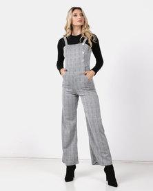 6a75ffeefb47 Legit Wideleg Button Detail Check Jumpsuit Black/White