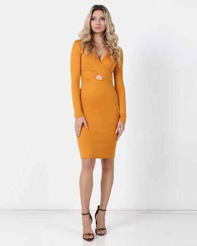 Legit Cross Front Bodycon Dress Mustard