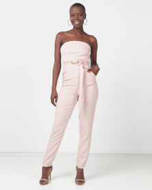 Legit Strapless Paperbag Slim Leg Jumpsuit Blush