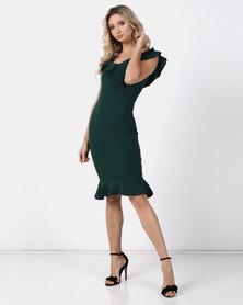 Legit Double Frill Flounce Hem Bodycon Dress Emerald