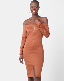 Legit Zip Front Bodycon Dress Rust