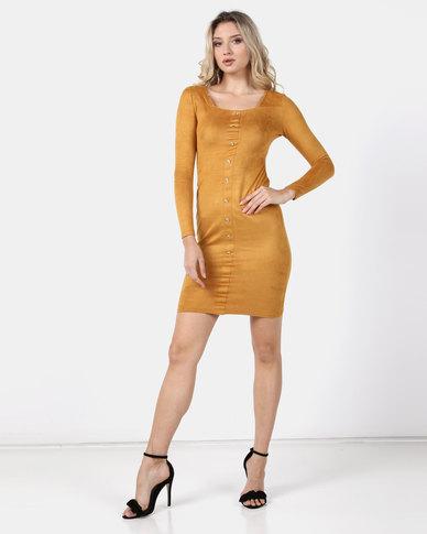 Legit Button Front Suede Bodycon Dress Mustard