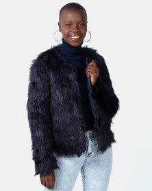 Legit Full Fur Coat Navy
