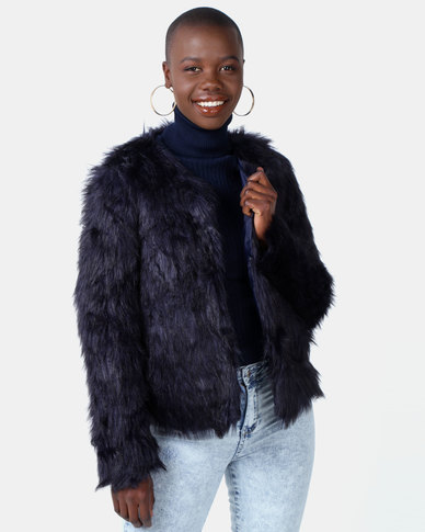 Legit Full Fur Coat Navy