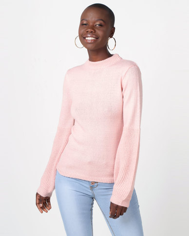 Legit Turtleneck Large Sleeve Detail Pullover Blush