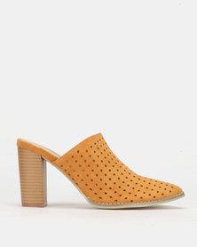 PLUM Slip On Block Heel Mustard